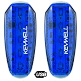 USB Rechargeable LED Safety Lights (2 Pack) - Clip on Strobe Running Lights for Runners, Joggers,Walkers,Kids,Dogs,Bike Tail Lights - High Visibility Accessories for Reflective Gear (Blue)