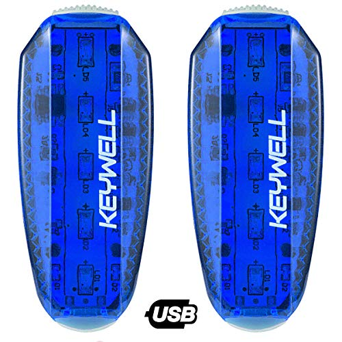 KEYWELL USB Rechargeable LED Safety Lights (2 Pack) - Clip on Strobe Running Lights for Runners, Joggers,Walkers,Kids,Dogs,Bike Tail Lights - High Visibility Accessories for Reflective Gear (Blue)