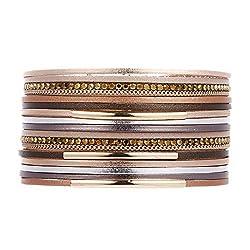 Short Crystal Wrap Magnetic Bracelet Cuff Bangle
