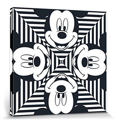 1art1 Mickey Mouse Poster Reproduction sur Toile, Tendue sur Châssis - Portrait Artistique Disney, Carrés À Rayures (40 x 40 cm)