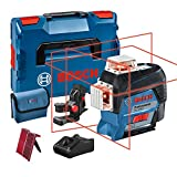 Bosch Professional 12V System Laser Lines GLL 3-80 C (1 battery 12V, red laser, with application function, range: up to 30 m, universal holder BM 1, L-BOXX)