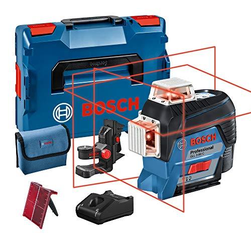 Bosch Professional 0601063R02 Nivel (1 batería x 2.0 Ah, 12V, Alcance 30/120 m, Láser Rojo, Conexión Bluetooth, en L-BOXX), 12 V, Azul, Única, Set de 3 Piezas