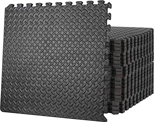 Oteymart Puzzle Exercise Mat Extra Thick 3/4 Inches Exercise Floor Gymnastics Mat Fitness Equipment Mat with EVA Foam Interlocking Tiles for Home Protective Flooring Cushion(24 Pieces, 96 Square feet)