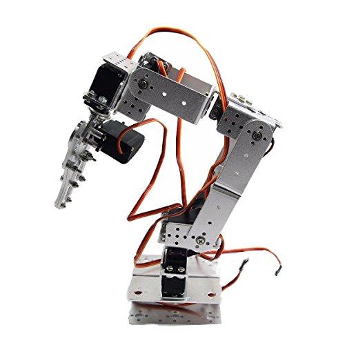LaDicha Rot2U 6Dof Kit De Montaje De Garra con Abrazadera De Brazo De Robot De Aluminio con Servos para Arduino-Plata