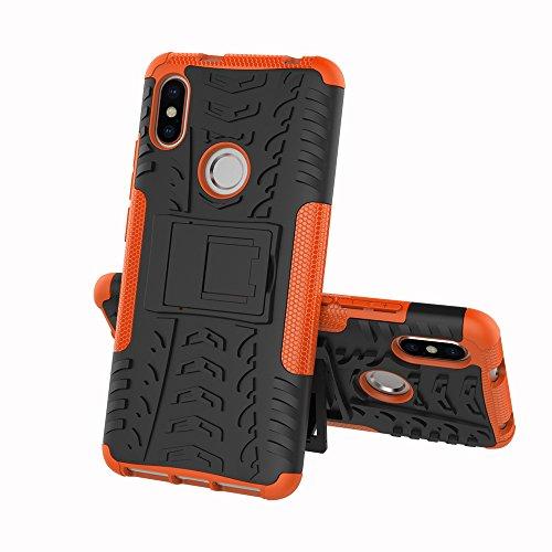 JMstore Funda Compatible con Xiaomi Redmi S2 +Pantalla Vidrio Templado Combinación A Prueba Choques Carcasa móviles(Naranja)