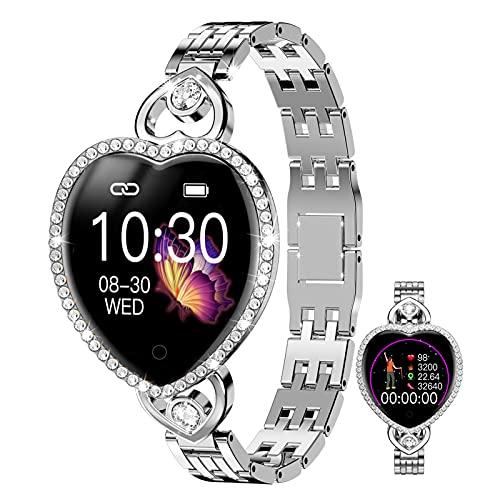 HQPCAHL Smartwatch Mujer, Reloj Inteligente IP68 con Pulsómetro, Monitor De Sueño, Modos De Deportes, Seguimiento del Menstrual, Notificaciones Inteligentes, Reloj Mujer para Android iOS,Plata