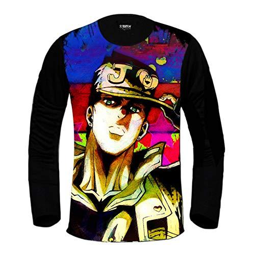 Herren Damen Langarm T-Shirt, Japanisches Manga Jojos Bizarres Abenteuer Bedrucktes Oberteil, Klassisches Lässiges Sweatshirt Mit Rundhalsausschnitt