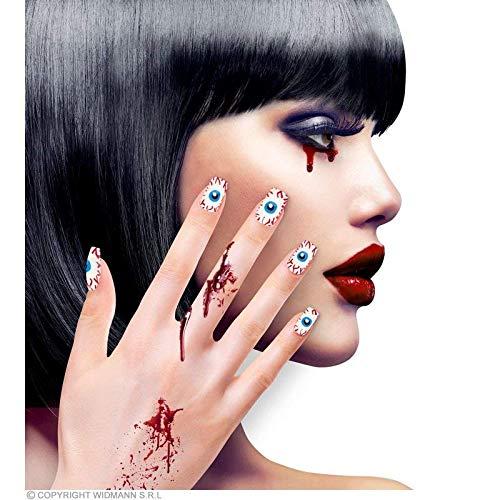 Lively Moments Kunstnägel mit Augen selbstklebend / weiße Fingernägel mit Augapfel / Nagel Tips für Halloween