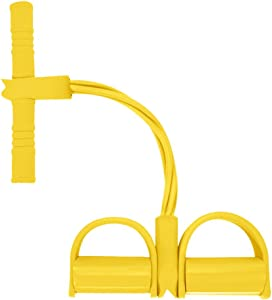 baskuwish 4 Tubes Elastic Sit-up Pull Rope Tension Rope Fitness Equiment Foot Pedal Bodybuilding Expander for Abdomen, Waist, Arm, Yoga Stretching Slimming Training (Yellow)