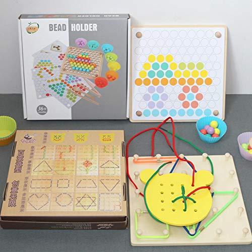 N-S Los niños de cuentas de entrenamiento se centran en los juegos de escritorio de los niños jardín de infantes de acción fina educación temprana juguetes Colorbeadsmatching+versatilethreadingboard