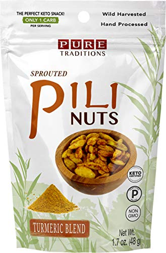 Sprouted Pili Nuts, Turmeric Blend, Certified Paleo & Keto (1.7 oz)