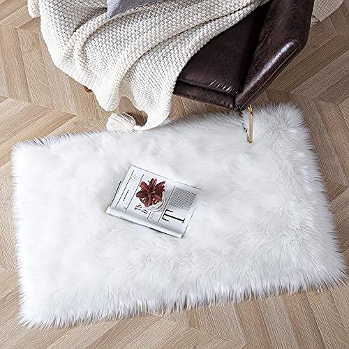 Oveja de Piel sintética Felpudo Alfombra Antideslizante Lujosa Suave Lana Artificial Alfombra para salón Dormitorio baño sofá Silla cojín (Blanco Cuadrado, 80x180cm)