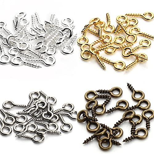 Ganchos De Tornillo 200PCS Mini Pines Pines Tornillo Class Sypins Ganchos Eyelets Tornillo Class Roscado Ganchos Eyepins para Hallazgos Colgantes Fabricación de Joyas Hembrillas (Color : Gold)