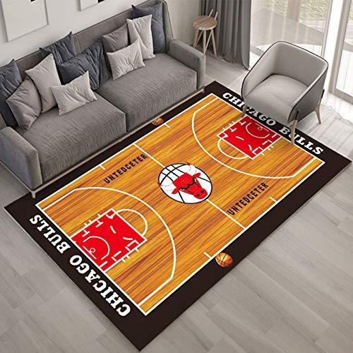 WYBY Basketballplatz-Hintergrund-Teppich-Home der Chicago-Bulls-weichen, komfortablen, rutschfesten, abwaschbaren und farbschnell-stilvollen und schönen Fußmat 80 * 120cm