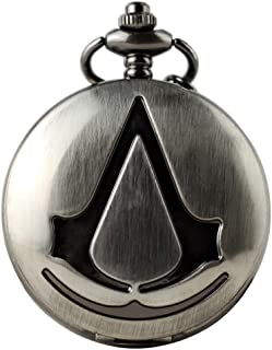 Assassin's Creed Pocket Watch with Chain, Pendant Necklace for Men Kids Boys Xmas Fathers Day Birthday Gift