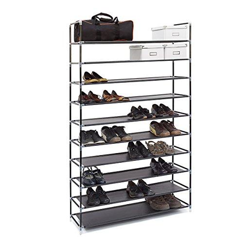 Relaxdays 10019127 Étagère à chaussures XXL pour 50 paires meuble range-souliers 10 étages compartiments HlP: rangement couloir cave 175,5 x 100 x 29 cm- noir