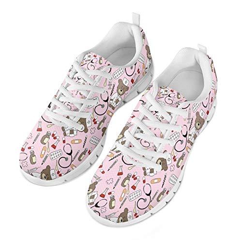 Coloranimal Pink Pediatrics Bear Puzzle Laufen Jogging-Turnschuhe für Frauen Mädchen Gehen Leicht Gehen Wohnungen Lässig DailyShoes Air Mesh Leichte Tennisschuhe -EU Größe 38