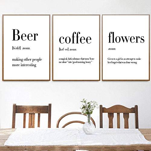TeriliziMinimalistische Kunst Definition Bier Kaffee Wein Zitate Poster Drucken Nordic Küche Zimmer Wandkunst Bild Home Decor Leinwand Gemälde-50X70Cmx3 Kein Rahmen
