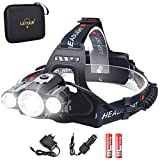 Headlight & Bike Light 2 in 1, LETOUR LED Headlamp 5000 Lumen, CREE Rechargeable Head Lamp, Waterproof Flashlight, Dismountable Camping Light for Riding Fishing Running Hiking