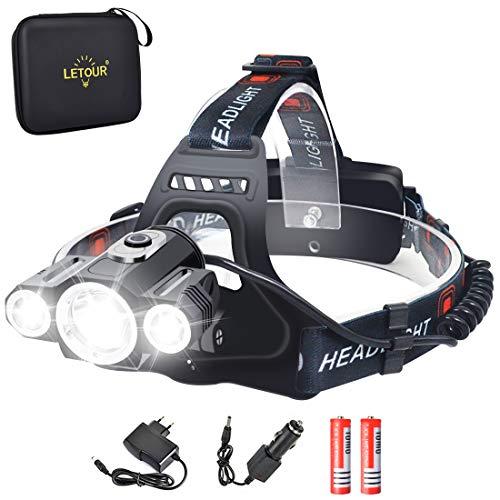 Headlight & Bike Light 2 in 1, LETOUR LED Headlamp 5000 Lumen, CREE Rechargeable Head Lamp, Waterproof Flashlight, Dismountable Camping Light for Riding Fishing Running Hiking