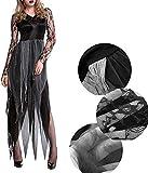 Llp Navidad del Traje de Halloween Graveroom Novia Cadáver Mujeres de Vestir de rol decoración del Partido con Diadema (Color : Black+Grey, Size : XL)