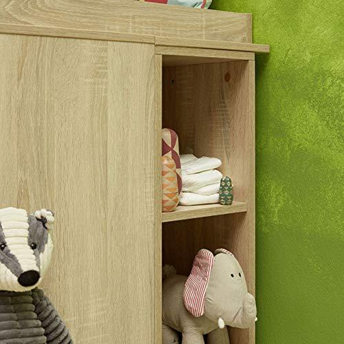 trendteam smart living Babyzimmer Regal Olivia, 25 x 93 x 32 cm Eiche Sägerau hell mit viel Ablagefläche