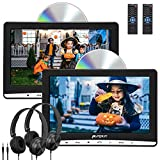 """Pumpkin Reproductor de DVD para Coche con 2 Pantalla, 10.1"""" HD Dos Reproductores para Reposacabezas de Coche, Viene con 2 Auriculares con Cable, soporta Tarjeta SD, USB para Niños en Viajes"""