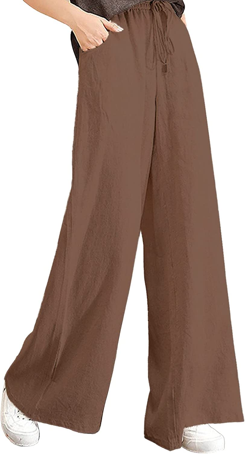 ZAKIO 2021 Linen Baggy Drawstring Pants for Women Casual Loose Fit Solid Elastic Waist Cropped Capri Trousers Plus Size