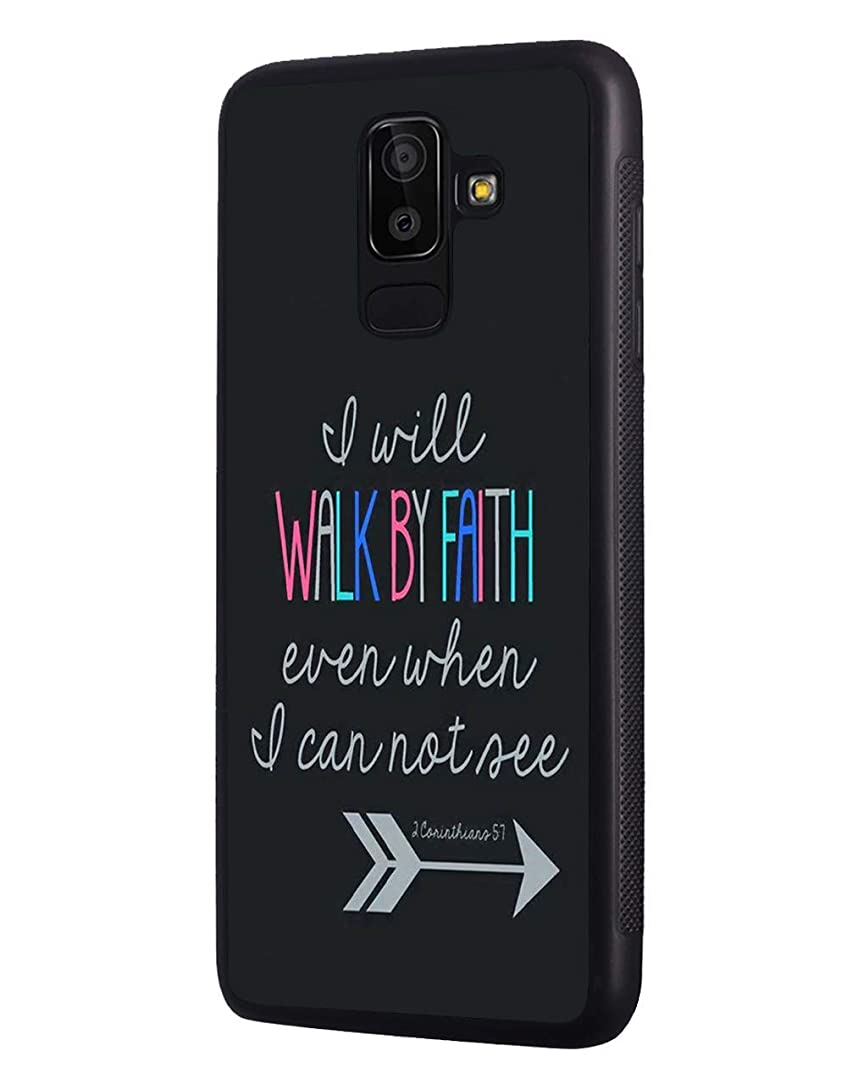 Galaxy A6 2018 Case,Bible Verse Quotes 2 Corinthians 5:7 Design Slim Impact Resistant Rubber Protective Case Cover for Samsung Galaxy A6 2018