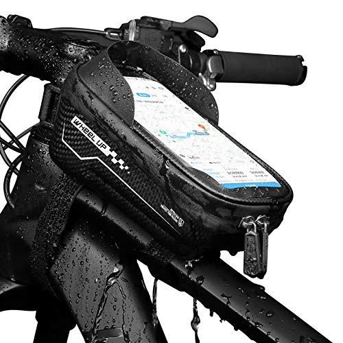Fahrrad Rahmentasche Wasserdicht,Großer Kapazität Reflektierenden Fahrradzubehör Lenkertasche mit Handyhalterung,Rennrad mtb Touchscreen Fahrradtasche Rahmen Oberrohrtasche für Smartphone bis 7 Zoll