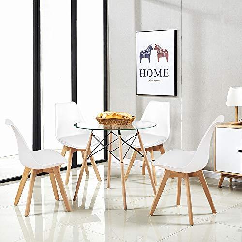 H.J WeDoo Esszimmergruppe Moderner Glastisch Rund Esstisch mit 4 Weiß Tulip Gepolsterter Stuhl Geeignet für Esszimmer Küche Wohnzimmer