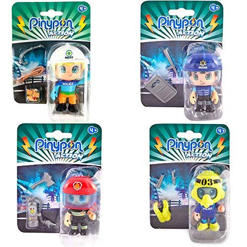 Pack 4 Pinypon Action Chico Escalador, Submarinista, Policí