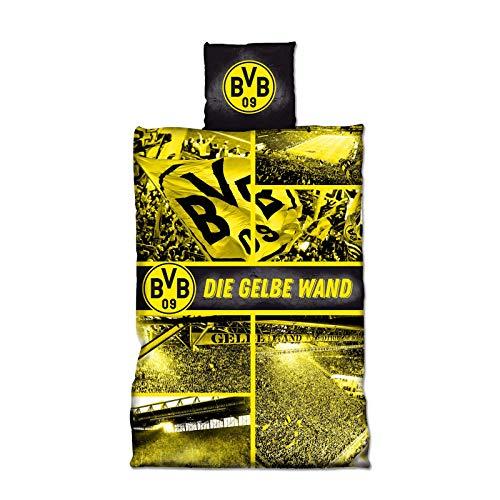 Borussia Dortmund, BVB-Biber-Bettwäsche Gelbe Wand, Mehrfarbig, 155x220cm