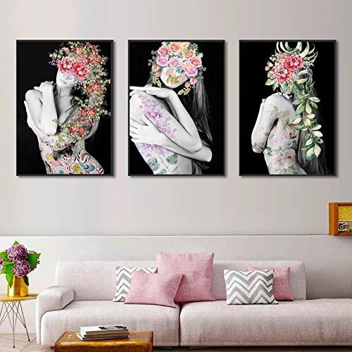 3 stuks make-up schoonheid muurkunst HD Nordic poster bloem Mooi meisje modern canvas schilderij huis kapsalon winkel decoratie 55x73cm