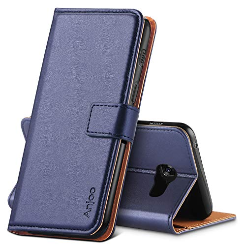 Anjoo Hülle Kompatibel für Samsung Galaxy A5 2017, Tasche Leder Flip Hülle Brieftasche Etui Handyhülle mit Kartenfach & Ständer Kompatibel für Samsung Galaxy A5 2017,Blau