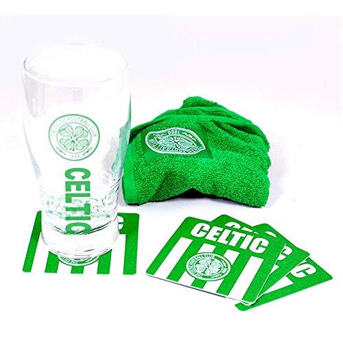Official Celtic FC Pint Glass Mini Bar Set (Pint Glass, Coasters & Bar Towel)