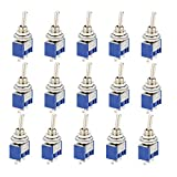 CESFONJER 15 Piezas Mini Interruptor de Palanca, AC 125V 6A ON-ON 3 Pines 2 Posiciones SPDT Interruptor Rocker Switch de Azul