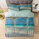 Aishare Store - Juego de funda de edredón para cama individual, color blanco, Varadero Beach Cuba America, 100% microfibra supersuave, 3 piezas, incluye 2 fundas de almohada