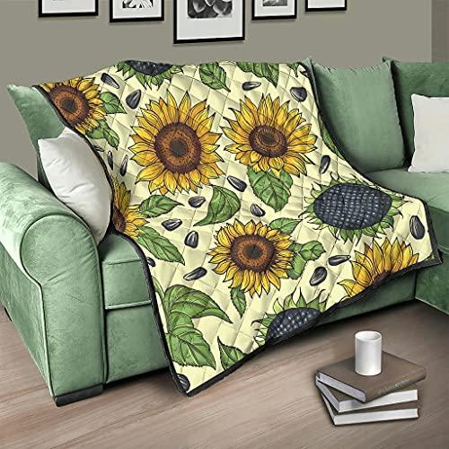 Flowerhome Colcha con diseño de girasol, reversible, para sofá, cama, color blanco, 230 x 280 cm