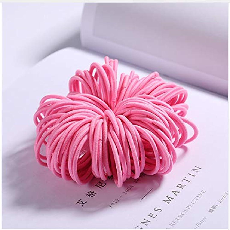 評議会やむを得ない巧みな100ピース/ロット女の子キャンディーカラーナイロン3センチゴムバンド子供安全弾性ヘアバンドポニーテールホルダーキッズヘアアクセサリー,Pink