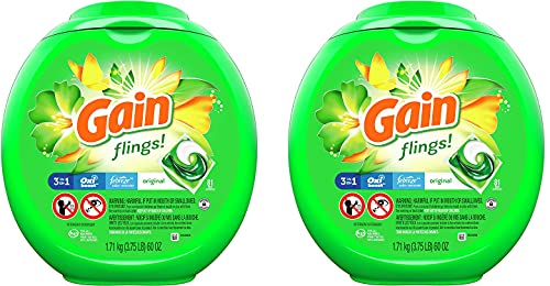 Laundry Detergent Soap Pacs, High Efficiency (HE), Original Scent, 81 Count (2 Box (Flings)