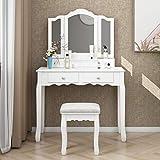 JAXSUNNY Elegant Tri-Fold Mirror Makeup Vanity Table Set Dressing Table with 4 Drawers, Cushioned Stool, Detachable Top, Versatile, White