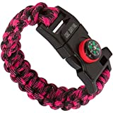 Core Survival Paracord Survival Bracelet - Hiking Multi Tool, Emergency Whistle, Compass