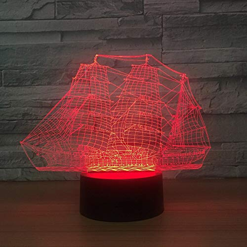 Only 1 Piece Boat 3D Night Lamp Led Colorful Touch AcrylicLed Night Light Luminaria De Mesa USB Led 3D Lamp