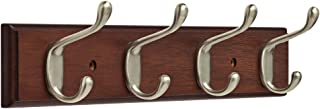 """Franklin Brass FBHDCH4-511-R, 16"""" Hook Rail/Rack, with 4 Heavy Duty Coat and Hat Hooks, in Bark & Satin Nickel"""