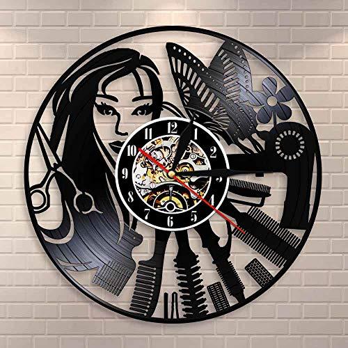 wtnhz LED-Peluquería Logo Corte de Pelo silencioso Reloj de Pared diseño de salón de Belleza Reloj de Disco de Vinilo peluquería decoración de Pared