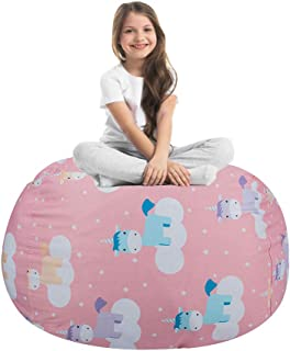 STTIAO Kids Stuffed Animal Storage Bean Bag with Carrying Handle Sturdy Cotton Bean Bag Cover Perfect for Toys and Clothes Kids Gift (Unicorn, 38'')