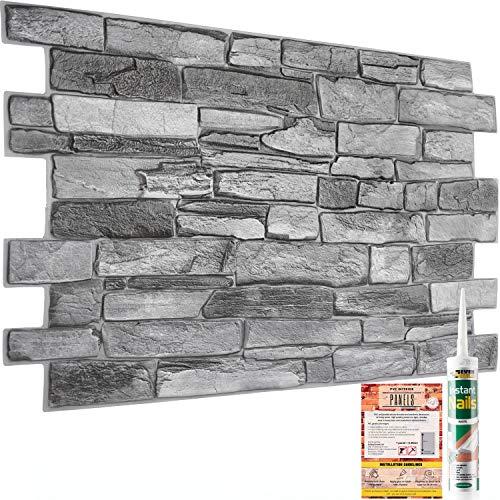 Paneles decorativos de pared – 20 hojas   9,7 m²   105 pies cuadrados – piedra de roca gris natural ladrillo pizarra efecto 3D paneles de azulejos de plástico PVC