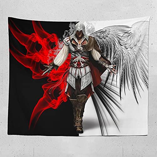 Tapiz de superhéroe Contaminación limpia y cero Assassin's Creed tapiz Tela de piel de melocotón de 130x150cm. Ambiente de juego de dormitorio de moda paño colgante