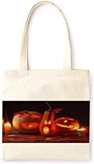 Cotton Canvas Tote Bag Modern Fairy Tale Pumpkin Lantern Vintage Style Halloween Party Printed Casual Large Shopping Bag for School Picnic Travel Groceries Books Handbag Design